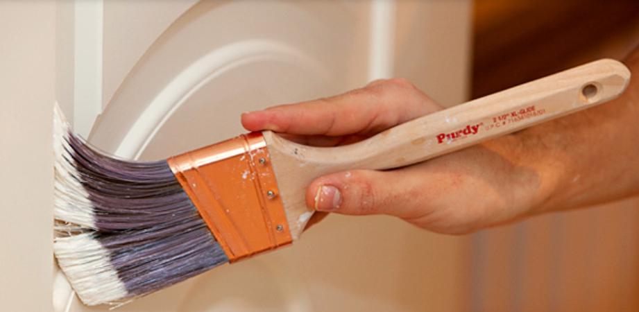 paint brush painting neutral tan paint