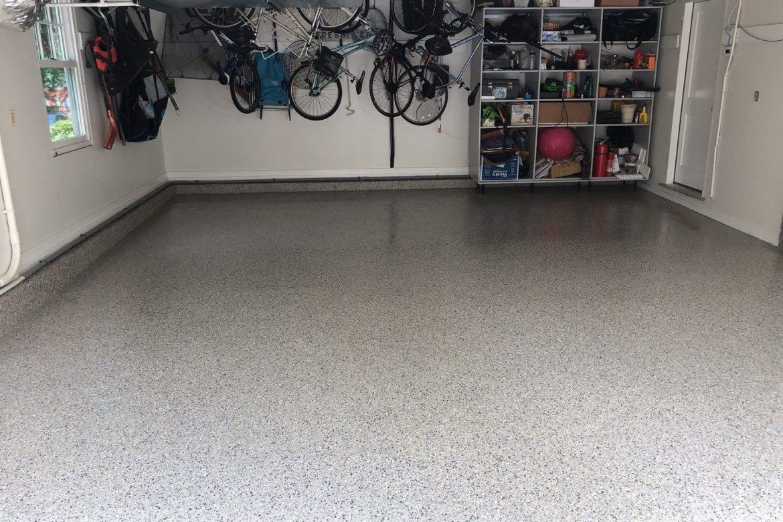 garage floor that is grey with black speckles