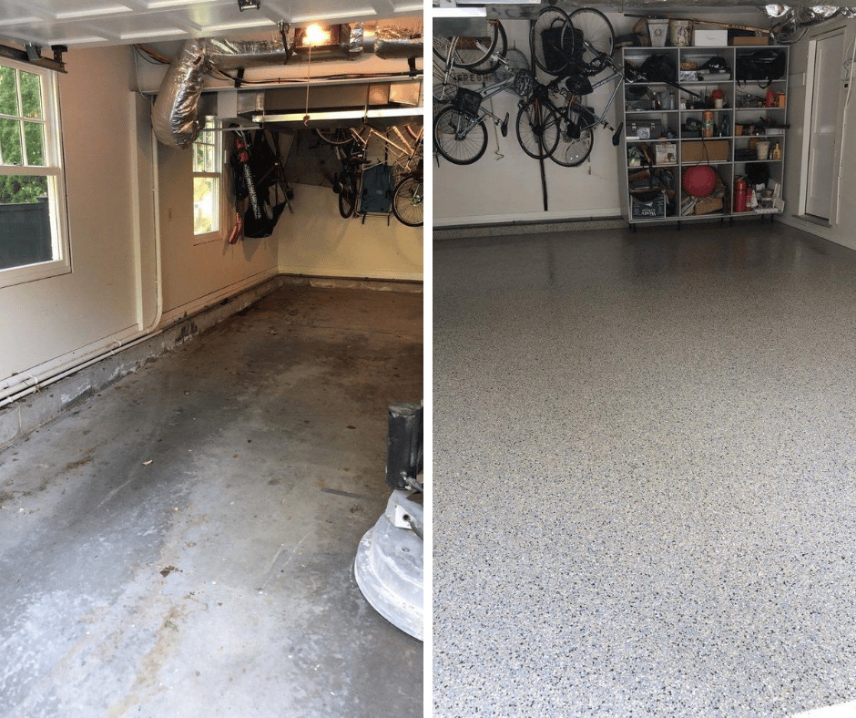 two photos of garage floors. the one on the left is unfinished and stained. the one on the right is a nice coating that is grey with black speckles
