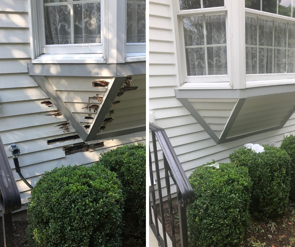 two photos side by side. the left photo shows damaged wood under a window and the right photo shows the repaired window wood, freshly painted with grey and white