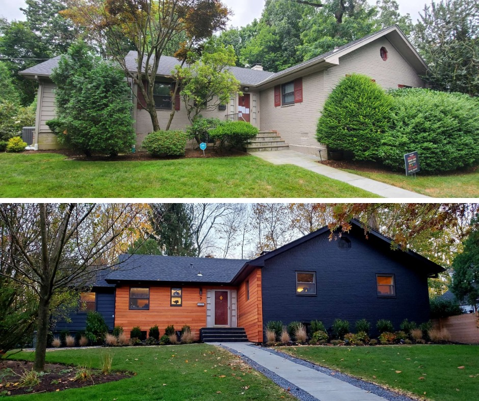 top photo shows tan house and green grass and trees. bottom photo shows same house but with new paint. Orange front and blue sides