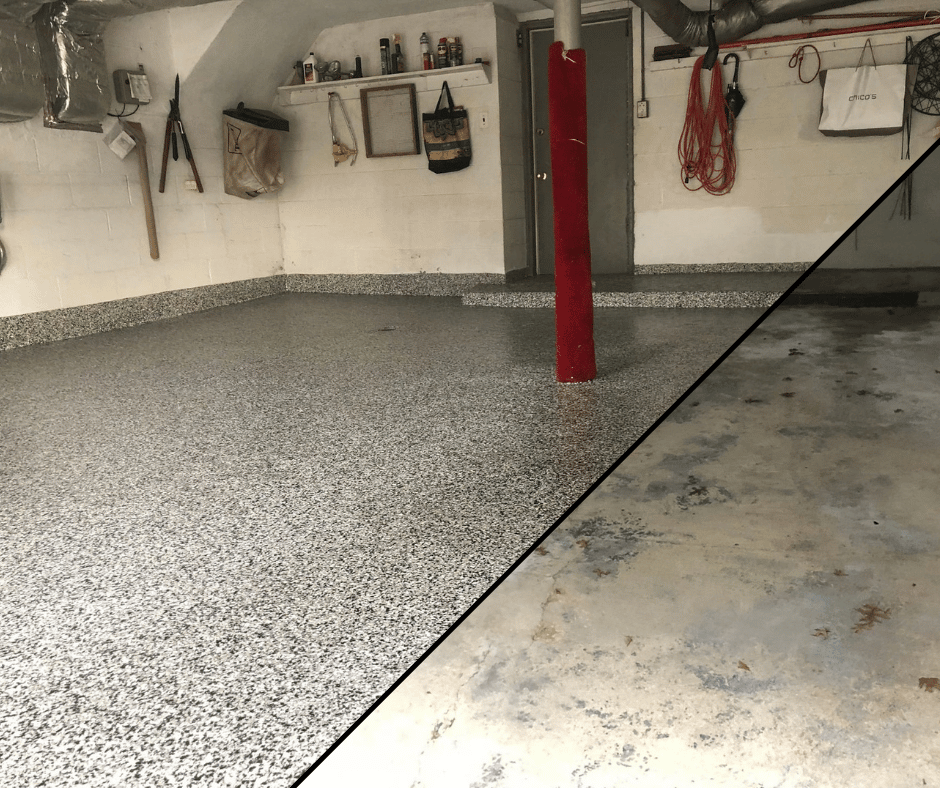 before and after photo of garage floor coating
