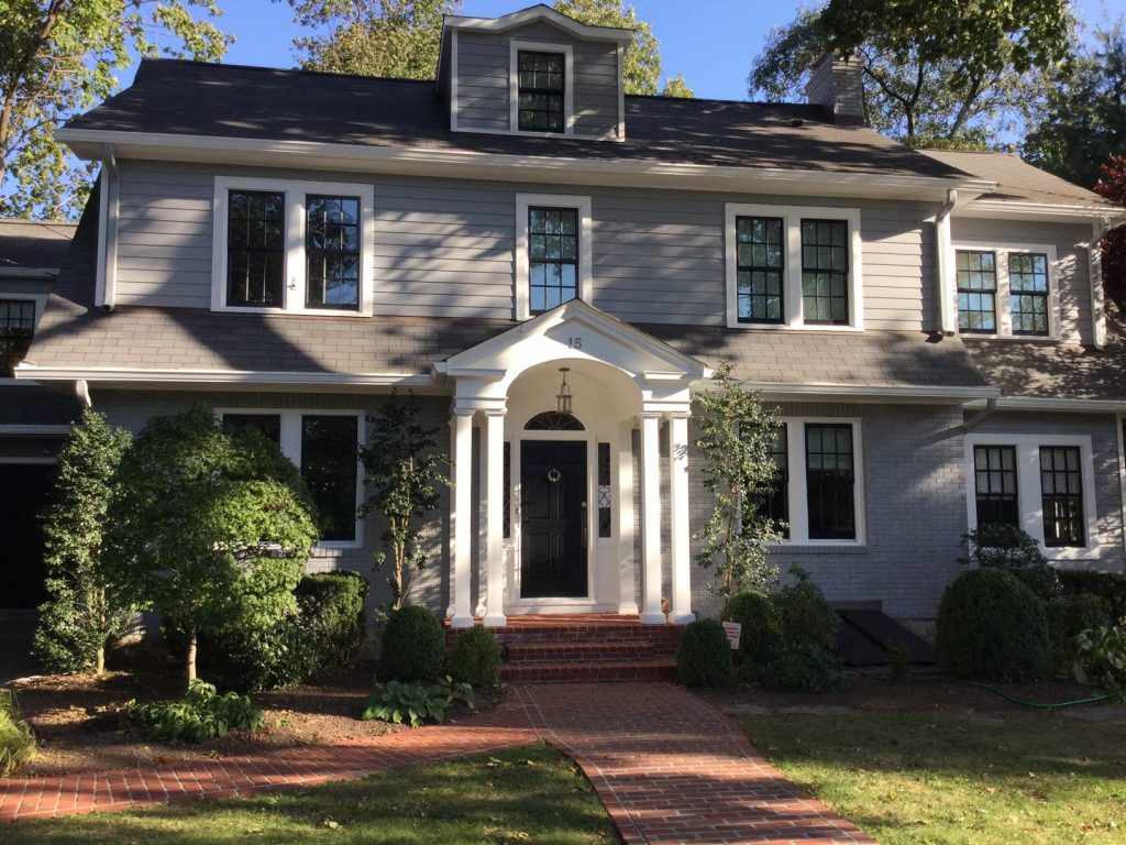 grey house with white trim