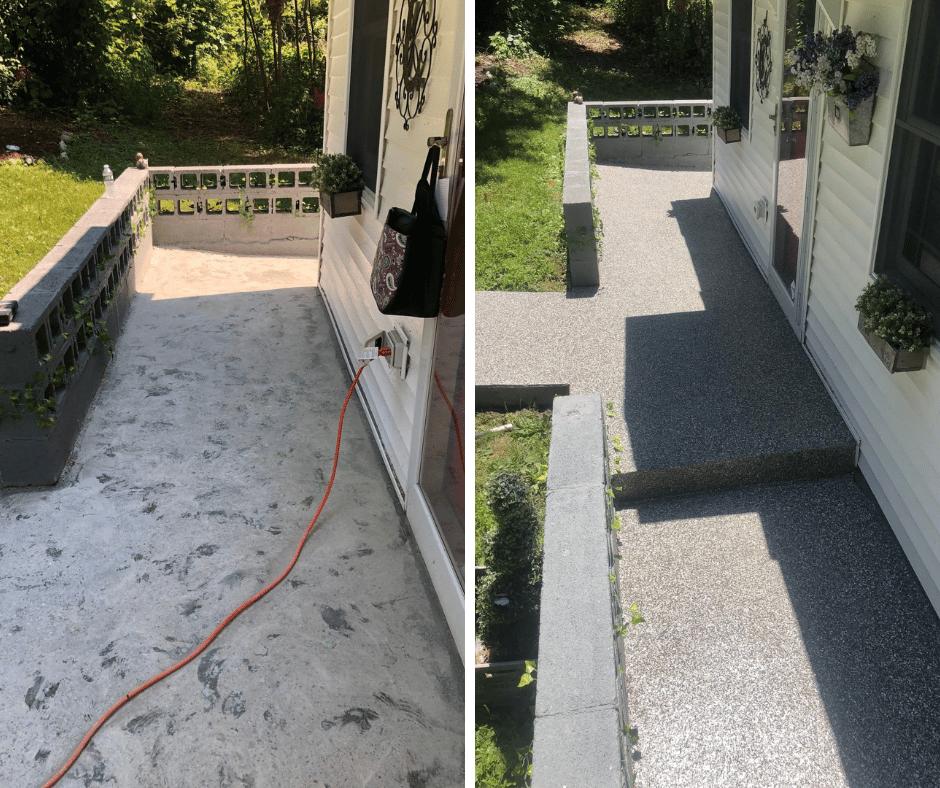 photos of concrete floor coating on outdoor patio space