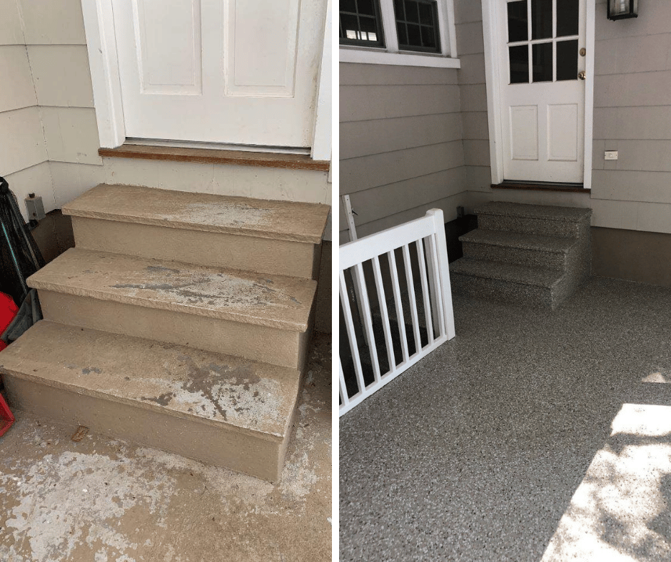 two photos showing a before and after concrete floor coating on outdoor patio