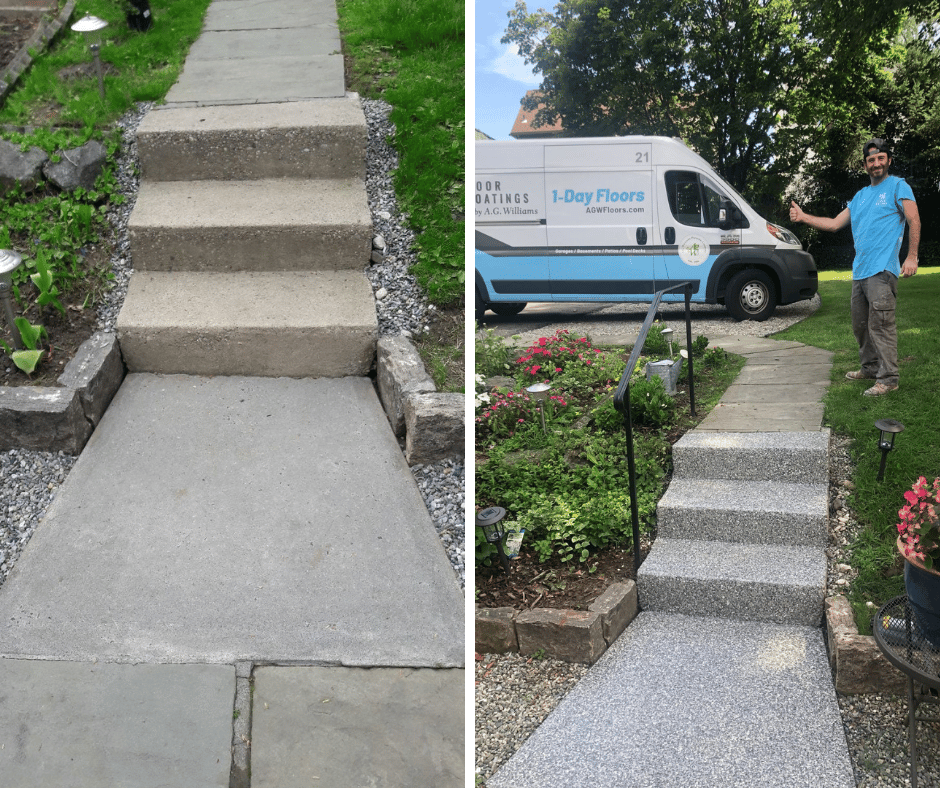 two photos showing a before and after concrete floor coating on outdoor walkway
